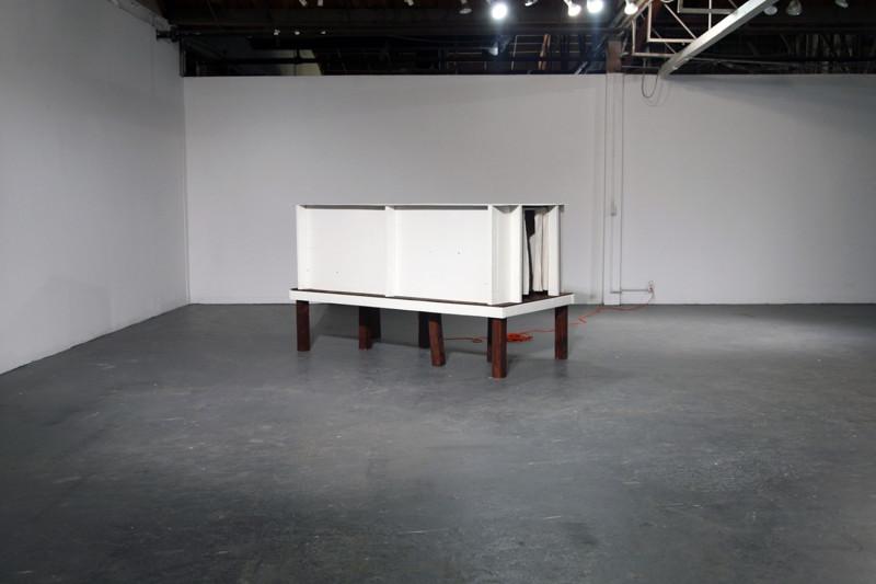"Qualia [Bed 2010], Wood, foam, fabric, 8 minute 27 second single-channel video, 56 x 48 x 96"", 2010"
