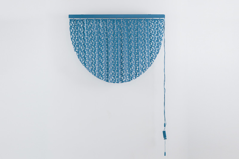 "Entice to Ensnare, Cut vertical blinds and enamel, 31 x 41 x 4"", 2013"