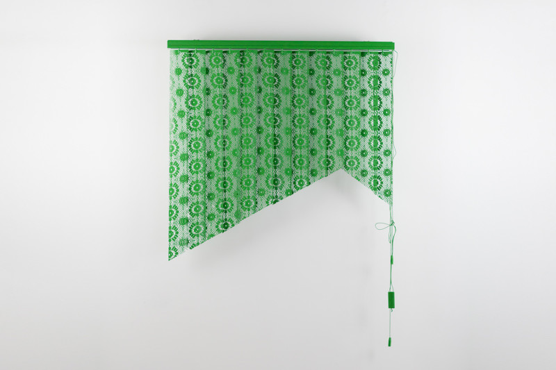 "Let Them Look, Cut vertical blinds and enamel, 55 x 41 x 4"", 2013"