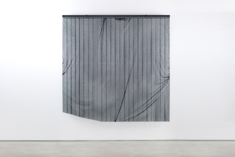 "Nothing to Hide, Cut vertical blinds and enamel, 74 x 74 x 4"", 2013"