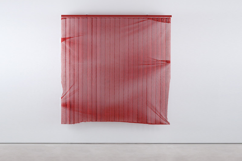 "Pretty is a Skill Set, Vertical blinds and enamel, 74 x 74 x 4"", 2013"