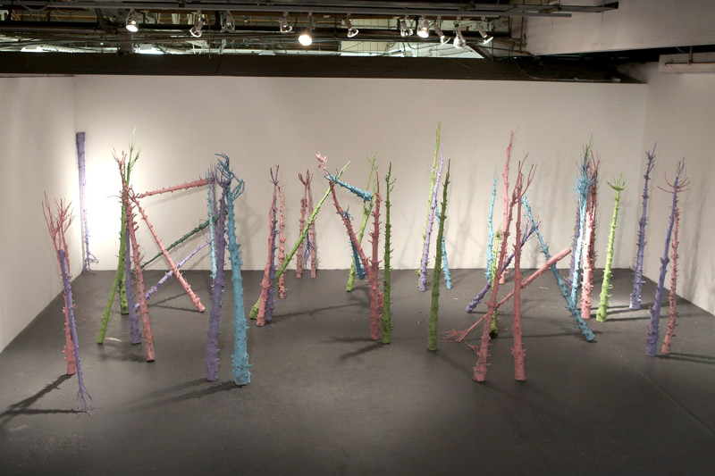 Life of Objects: phase 2, Spray paint, 58 modified Xmas trees, Dimensions variable, 2011
