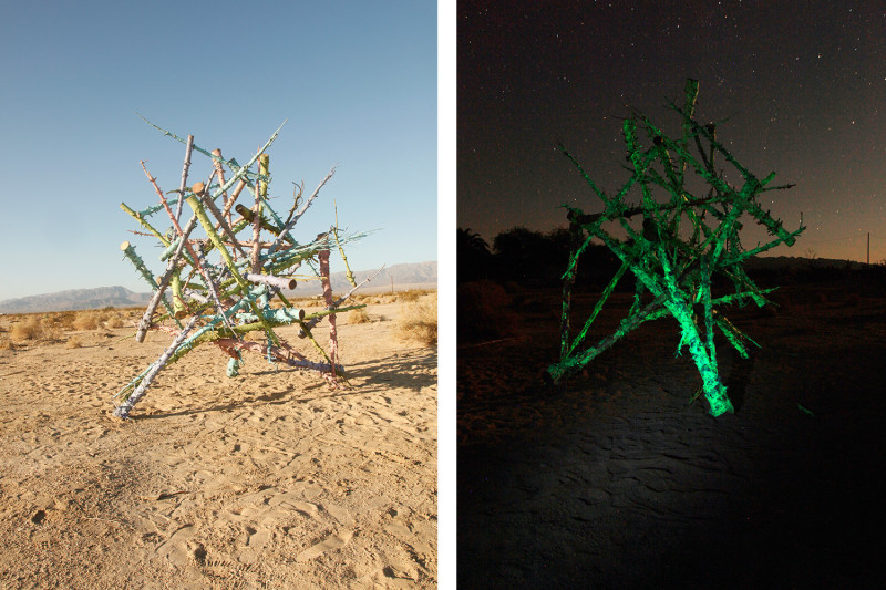 Life of Objects: phase 3 (day view | night view), Spray paint, strontium aluminate, 58 modified Xmas trees, hardware, 12 x 15 x 12', 2011