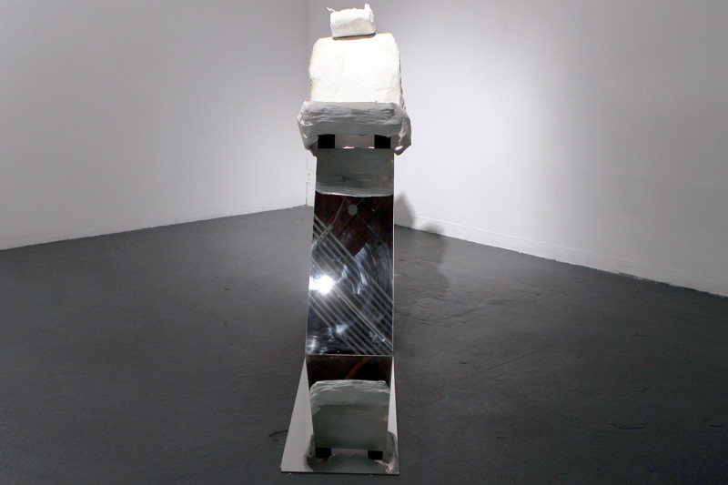 "Surrogacy, Plaster bandage, wood, mirror, 56 x 24 x 68"", 2011"