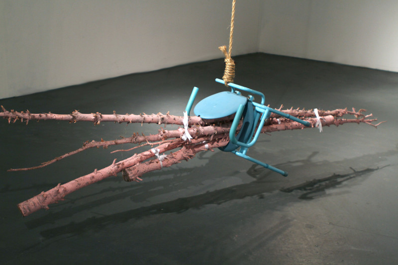 "Gold Digging, Rope, wood, paint, ribbon, found object, 72 x 72 x 24"", 2011"
