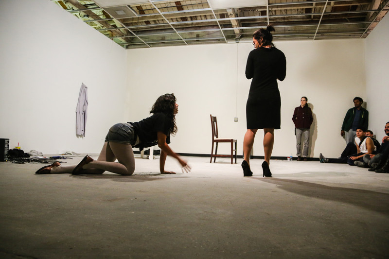 Art Scene, performance with Christine Wang, 2015 (photo documentation by Marshall Astor)
