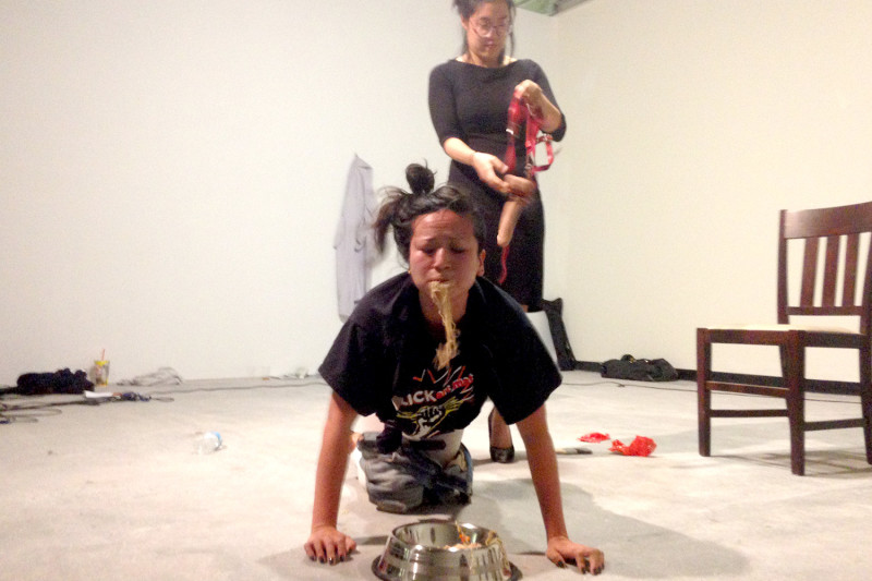 Art Scene, performance with Christine Wang, 2015 (photo documentation by Shelley Holcomb)