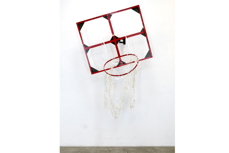 "Swishy [Mommy], Stretcher bars, latex, embroidery hoop, vinyl, zipper, articulating wall mount, 74 x 46 x 36"", 2015"
